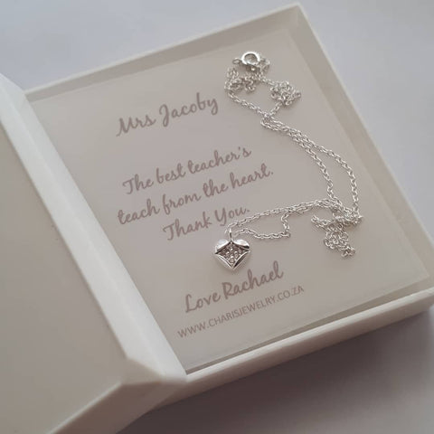 TG1-C646 - Teacher's Gift Sterling Silver Necklace & Personalized Note