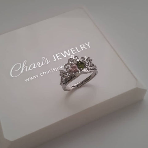 N781-CRI102878 - 925 Sterling Silver Crown Personalized Couples Names & Birthstones Ring