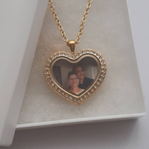 FL59 - Personalized Photo Heart Locket Necklace, CZ Gold Stainless Steel