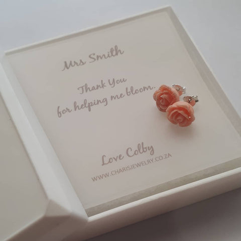 C622-C6882 - 925 Sterling Silver Rose Earrings & Personalized Note