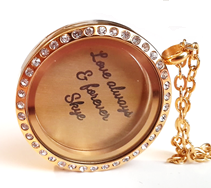 FL41 - Gold Plated Floating Locket Set, Locket Necklace with Personalized Disc