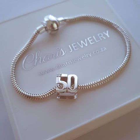 C265+C521 - 50th Birthday Charm Bracelet & Charm, 925 Sterling Silver