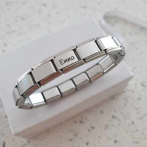 EST01+P1 - Personalized Name Link Italian Charm Starter Bracelet (compatible with popular brands)