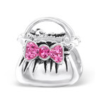 B43-C10752 - 925 Sterling Silver Handbag with Pink Stones European Charm