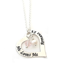 UN15 - Sterling Silver Heart Necklace with dangle crystal beads.  He Loves me Romans 5:8