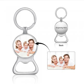 CAS102069 - Personalized bottle opener photo keyring, Stainless Steel