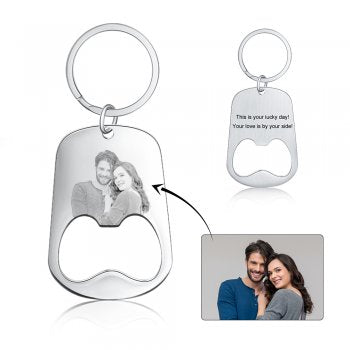CAS102070 - Personalized bottle opener photo keyring, Stainless Steel