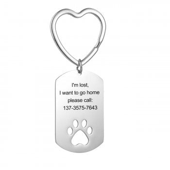 CAS102224 - Personalized Dog Paw keyring, Stainless Steel
