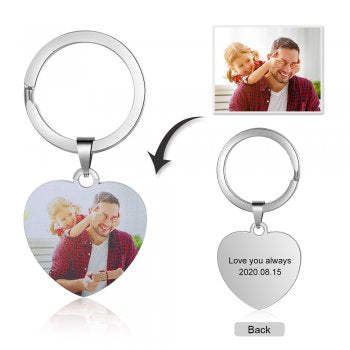 CAS102232 - Personalized Photo Heart keyring, Stainless Steel
