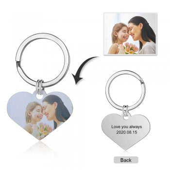 CAS102233 - Personalized Photo Heart keyring, Stainless Steel