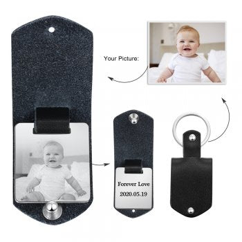 CAS102330 - Personalized Photo keyring, Stainless Steel - Black Strap