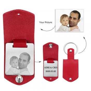 CAS102332 - Personalized Photo keyring, Stainless Steel - Red Strap
