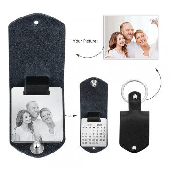 CAS102333 - Personalized Photo Calendar keyring, Stainless Steel - Black Strap