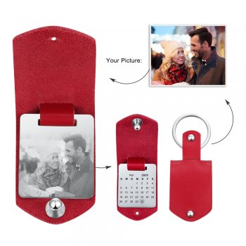 CAS102336 - Personalized Photo Calendar keyring, Stainless Steel - Red Strap