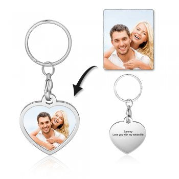 CAS102434 - Personalized Photo Heart keyring, Stainless Steel