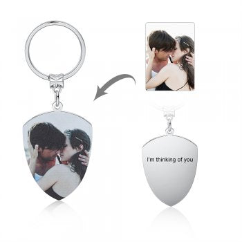 CAS102436 - Personalized Photo Shield keyring, Stainless Steel