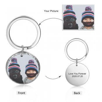CAS102437 - Personalized Photo Round keyring, Stainless Steel