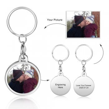 CAS102438 - Personalized Photo Round keyring, Stainless Steel