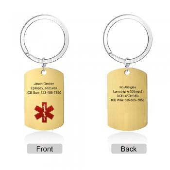 CAS102492 - Personalized Medical Alert keyring, Stainless Steel - Gold