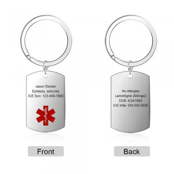 CAS102493 - Personalized Medical Alert keyring, Stainless Steel - Silver