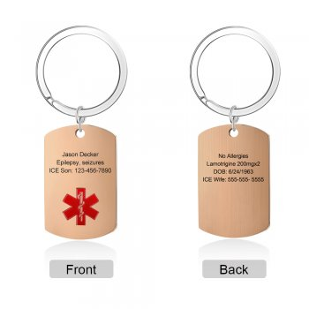 CAS102494 - Personalized Medical Alert keyring, Stainless Steel - Rose Gold
