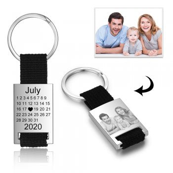 CAS102552 - Personalized Calendar & Photo keyring, Stainless Steel