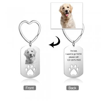 CAS102555 - Personalized Dog Paw & Photo keyring, Stainless Steel