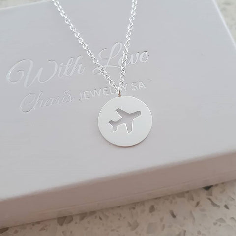 A92-C38055 - 925 Sterling Silver Airplane Necklace