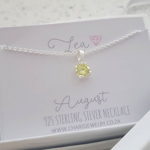 C33212 - 925 Sterling Silver August Birthstone Necklace,  Personalized Card