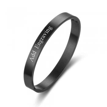 CBA102306 - Personalized Bangle, Silver Stainless Steel, Black