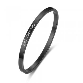 CBA102310 - Personalized Bangle, Silver Stainless Steel, Black