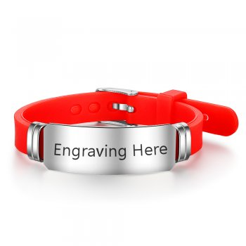 CBA102316 - Personalized Bracelet, Silver Stainless Steel, Red Silicone Strap