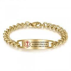 CBA102605 - Personalized Medical Alert Bracelet, Stainless Steel - Gold