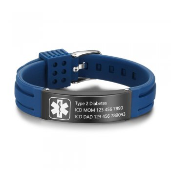 CBA102621 - Personalized Medical Alert Bracelet, Stainless Steel & Silicone Strap