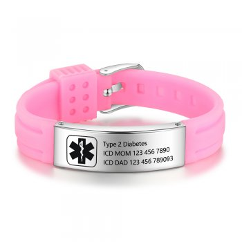 CBA102622 - Personalized Medical Alert Bracelet, Stainless Steel & Silicone Strap