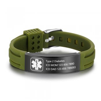 CBA102623 - Personalized Medical Alert Bracelet, Stainless Steel & Silicone Strap