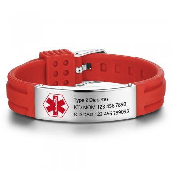 CBA102676 - Personalized Medical Alert Bracelet, Stainless Steel & Silicone Strap