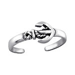 C1107-C27625 - 925 Sterling Silver Anchor Toe Ring, Adjustable Size