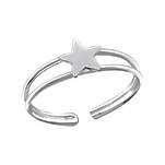 C1100-C3905 - 925 Sterling Silver Star Toe Ring, Adjustable Size