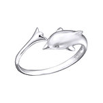 C1105-C21056 - 925 Sterling Silver Dolphin Toe Ring, Adjustable Size