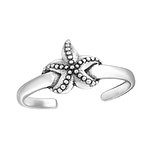 C1108-C27626 - 925 Sterling Silver Starfish Toe Ring, Adjustable Size