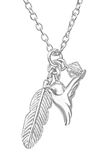 C611-C32727 - Sterling Silver Small Feather, Bird & Crystal Necklace