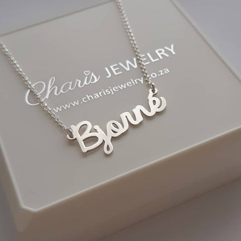 N225 - Sterling Silver Personalized Custom Cursive Name Necklace on Rollo Chain