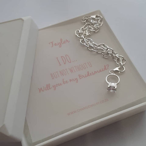 B49-C6225+B51 - Brides Maid 925 Sterling Silver Ring Charm, Bracelet & Note