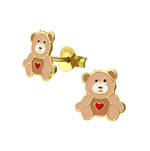 C974-C38194 - Gold Plated Children's Teddy Bear Ear Stud Earrings