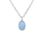 C1059-C27986 - 925 Sterling Silver Children's Blue Nano Opal Necklace