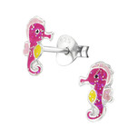 Children's sterling silver glitter Sea Horse Beach Earrings