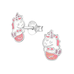 C978-C38236 - 925 Sterling Silver Children's Glitter Mermicorn Earrings