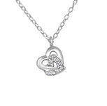 C1061-C19301 - 925 Sterling Silver CZ Double Heart Necklace