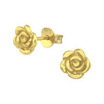 C979-C14799 - Gold Plated 925 Sterling Silver Rose Flower Earrings